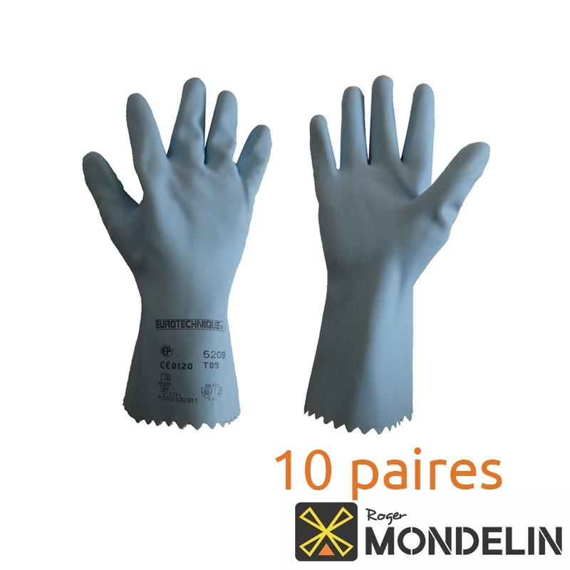 Lot de 10 paires de gants latex T9 Mondelin bleu