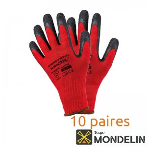 Lot de 10 paires de gants enduction latex T9 Maçon Mondelin rouge