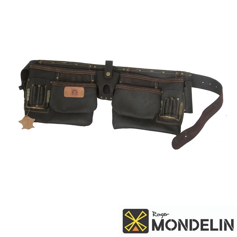 Poche double en cuir tanné avec ceinture Mondelin