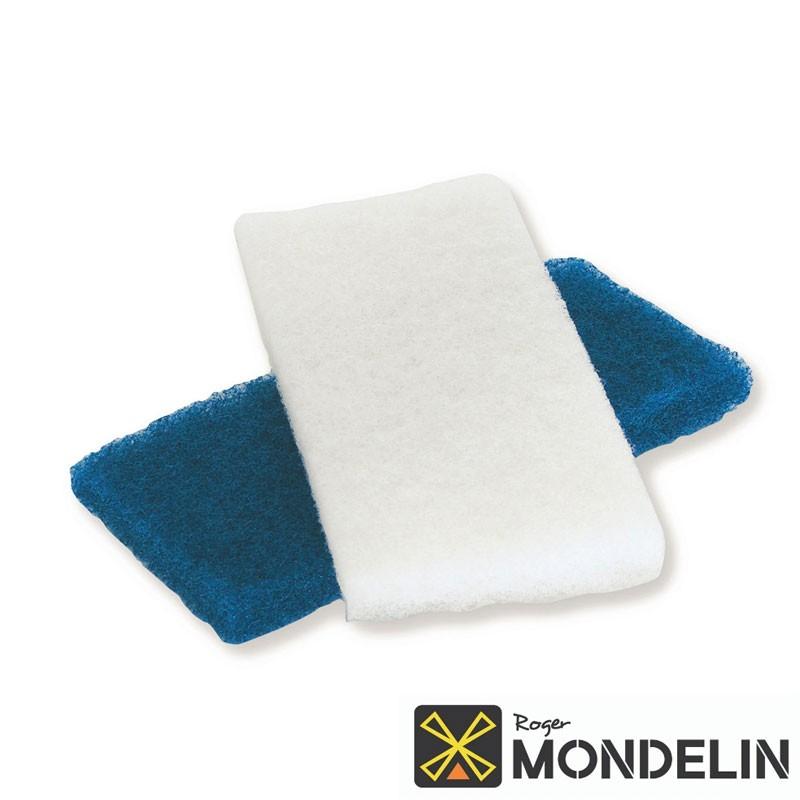 Lot de 2 tampons abrasifs blanc/bleu Mondelin